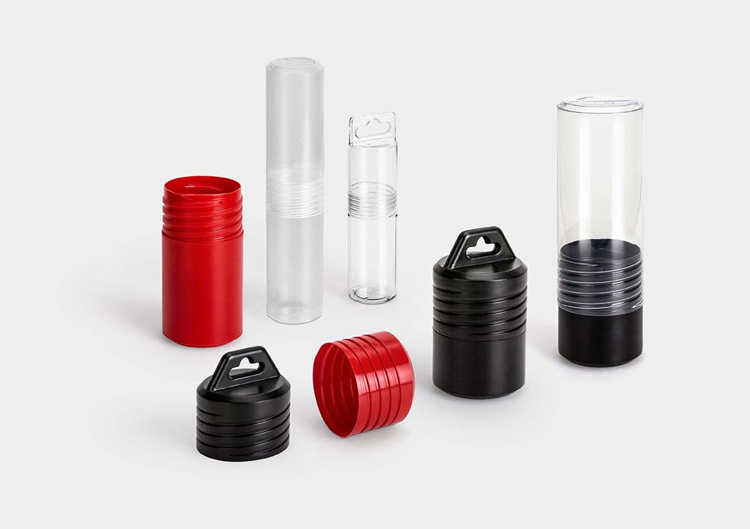 ScrewPack: a round protective packaging tube with fixed length and screw closure.
